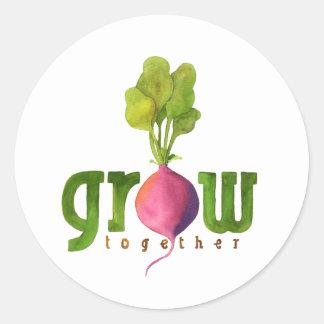 Grow Together Radish Round Sticker