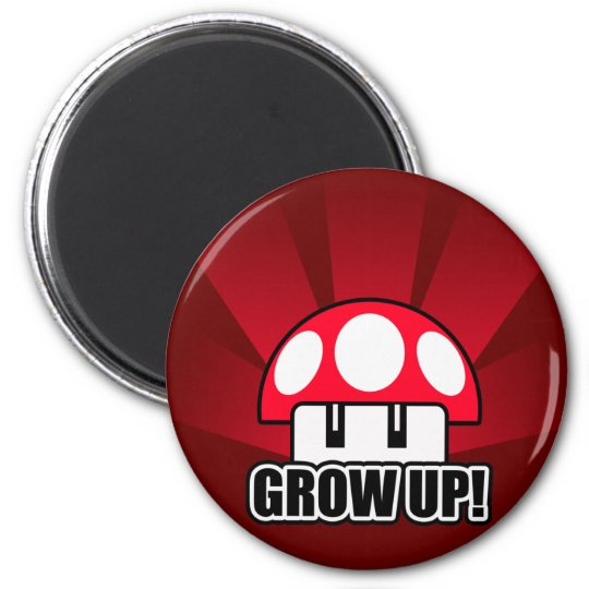 Grow Up Red Mushroom Powerup 6 Cm Round Magnet
