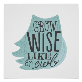 Grow Wise Like an Owl - Children's Art Poster