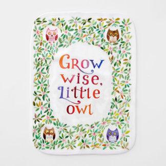 Grow wise little owl watercolor art burp cloth