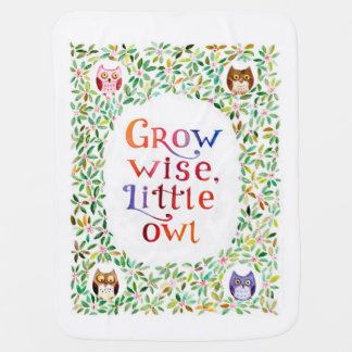 Grow wise little owl watercolor painting baby blanket