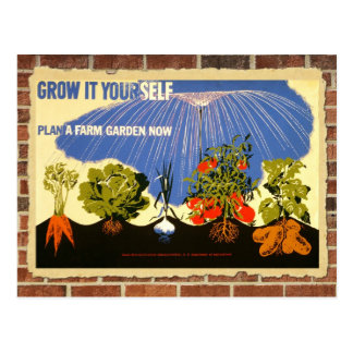 Grow your own garden - poster (vintage reprint) postcard