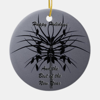 Growing - Abstract Design in Black and Silver Grey Round Ceramic Decoration