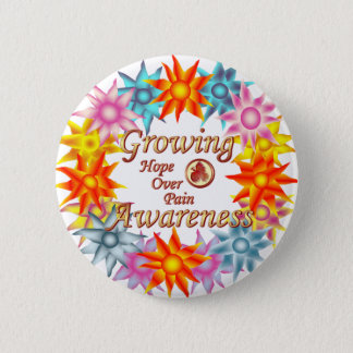 Growing Awareness Hope Over Pain Phoenix Flowers 6 Cm Round Badge