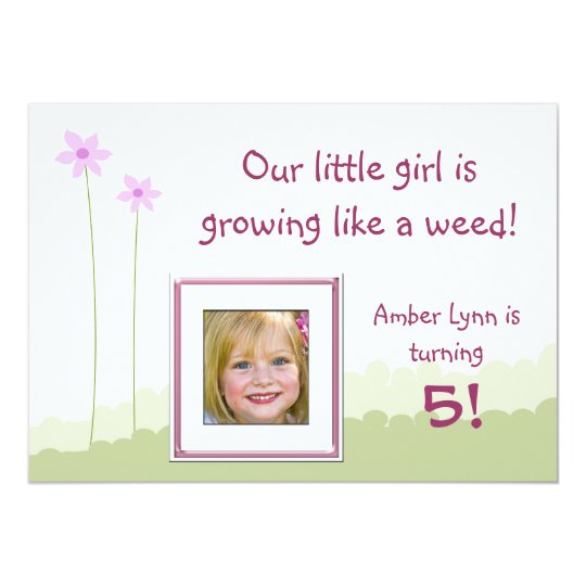 Growing Like A Weed Little Girl Birthday Card