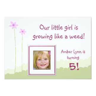 Growing Like A Weed Little Girl Birthday Card Custom Invite