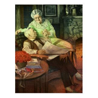 Growing Old Together - Vintage Illustration Postcard