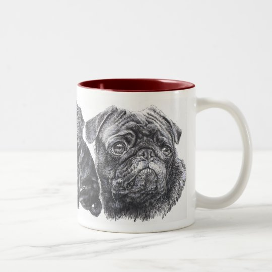Growing Up Black Pug Two-Tone Coffee Mug