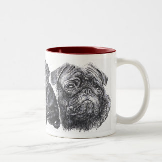 Growing Up Black Pug Two-Tone Mug