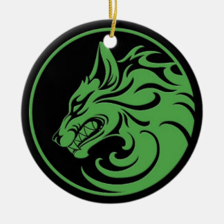 Growling Green and Black Wolf Circle Christmas Ornament
