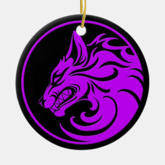 Growling Purple and Black Wolf Circle Christmas Tree Ornaments