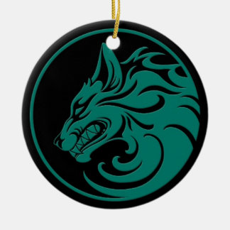 Growling Teal Blue and Black Wolf Circle Christmas Ornament