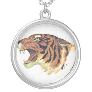Growling tiger head silver plated necklace