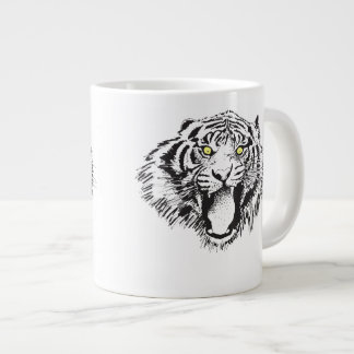Growling Tiger in Black with Yellow Eyes Giant Coffee Mug
