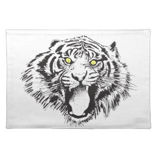 Growling Tiger in Black with Yellow Eyes Place Mat