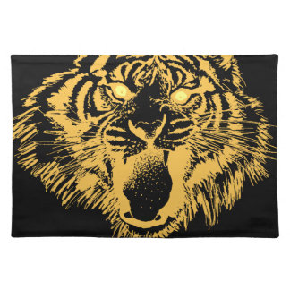 Growling Tiger in Orange With Yellow Eyes Placemats