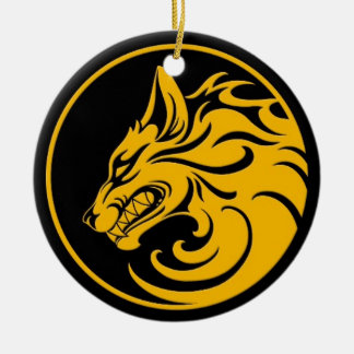 Growling Yellow and Black Wolf Circle Christmas Ornament
