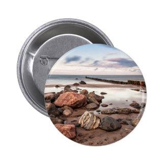 Groyne and stones on the Baltic Sea coast 6 Cm Round Badge