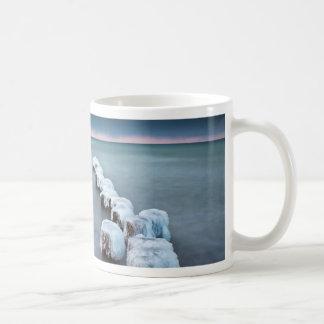 Groyne in winter on shore of the Baltic Sea Coffee Mug