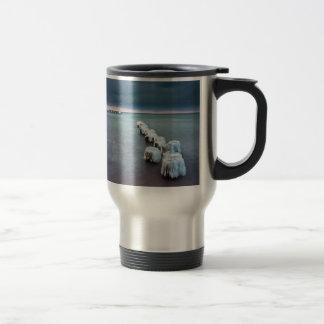 Groyne in winter on shore of the Baltic Sea Coffee Mugs