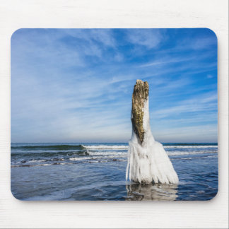 Groyne on shore of the Baltic Sea in winter Mouse Pad