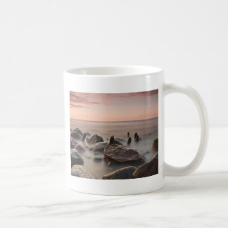 Groynes and stones on shore of the Baltic Sea Basic White Mug