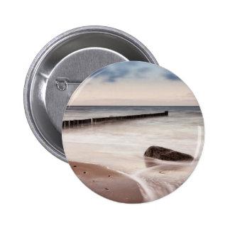 Groynes and stones on the Baltic Sea coast 6 Cm Round Badge