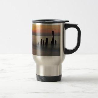 Groynes and sunset on the Baltic Sea coast Stainless Steel Travel Mug