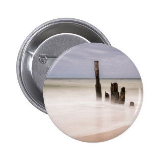 Groynes on shore of the Baltic Sea 6 Cm Round Badge