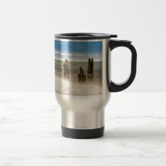 Groynes on shore of the Baltic Sea Stainless Steel Travel Mug