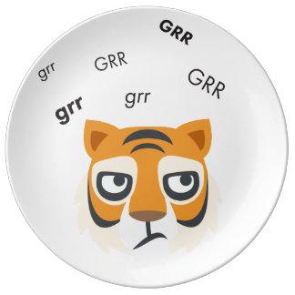 Grr Tiger Cute Emoji Plate