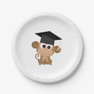 Gruaduation Monkey Paper Plate