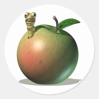Grub Eating Apple Round Sticker