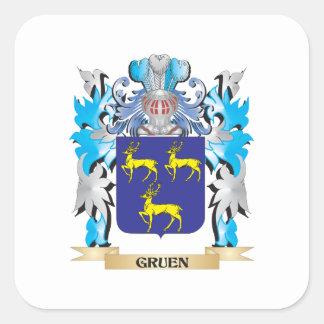 Gruen Coat of Arms - Family Crest Square Sticker