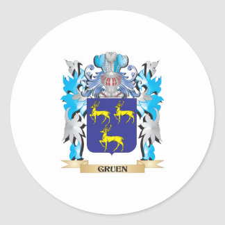 Gruen Coat of Arms - Family Crest Round Stickers