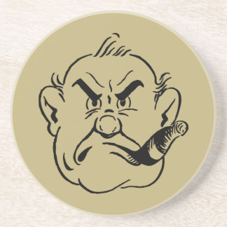 Gruff Cigar Smoking Man Sandstone Coaster