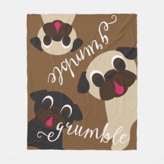 Grumble, Grumble Pug Medium Brown Fleece Blanket