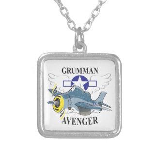 grumman avenger square pendant necklace