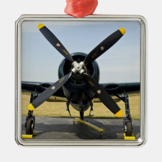 Grumman F8F Bearcat Navy Carrier Fighter on the Silver-Colored Square Decoration