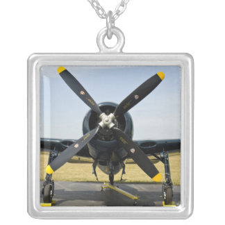 Grumman F8F Bearcat Navy Carrier Fighter on the Silver Plated Necklace