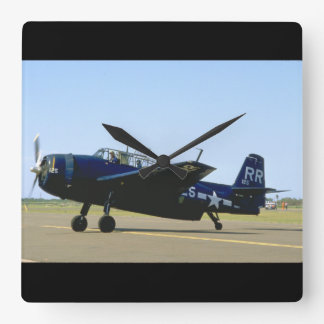 Grumman TBM Avenger, Left Front_WWII Planes Square Wall Clock