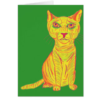 Grumpy and Confused Yellow Cat, Naive Style Greeting Card