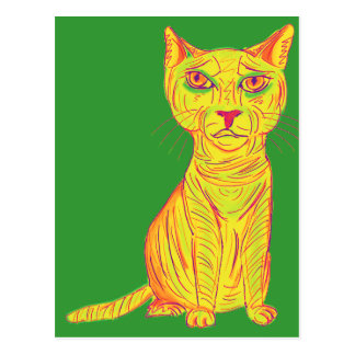 Grumpy and Confused Yellow Cat, Naive Style Postcard