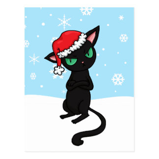 Grumpy Black Cat wearing Santa Hat Postcard