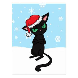 Grumpy Black Cat wearing Santa Hat Postcard