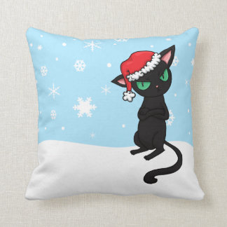Grumpy Black Cat wearing Santa Hat Throw Pillow