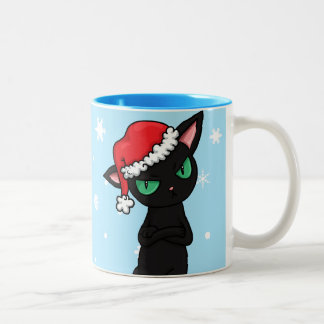 Grumpy Black Cat wearing Santa Hat Two-Tone Coffee Mug