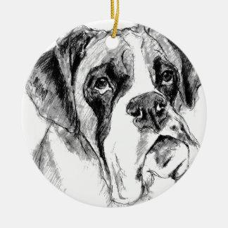 Grumpy boxer christmas ornament