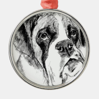 Grumpy boxer christmas ornament