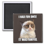 Grumpy Cat - I had fun once Square Magnet